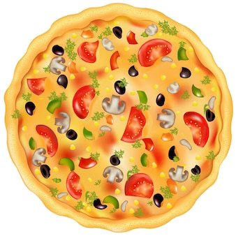 Freshly baked pizza with mushrooms, tomatos, olives and peppers,  on white