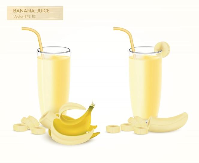 新鲜挤压热带香蕉汁。