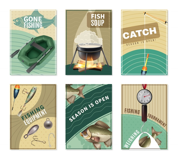 Freshwater fishing 6 posters prints collection
