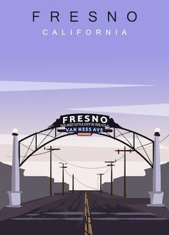 フレズノ現代ベクトルポスター。カリフォルニア州フレズノ