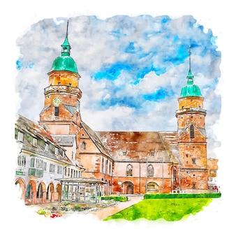Freudenstadt germany watercolor sketch hand drawn illustration