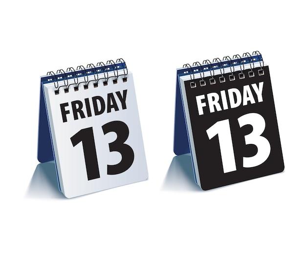 13日の金曜日のカレンダー。リアル