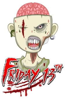 Пятница 13-е текстовый дизайн с жутким зомби