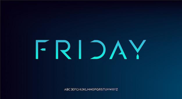 Пятница, абстрактный футуристический технологический шрифт алфавита.