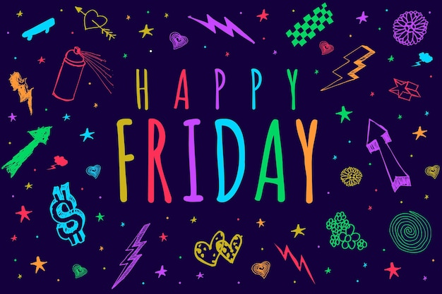 Friday background with greeting Free Vector