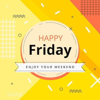 Friday enjoy your weekend yellow background