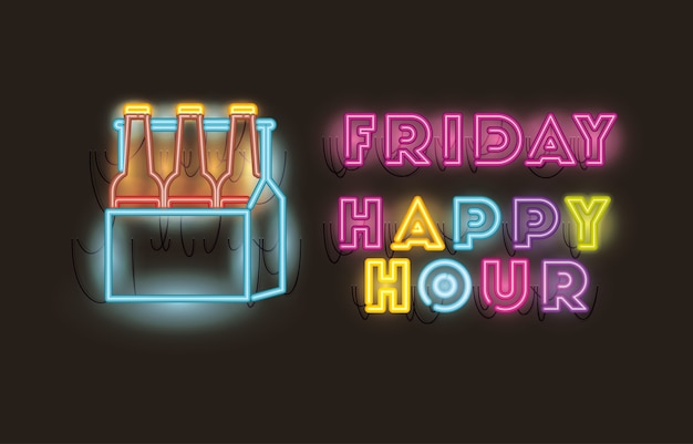 Friday happy hour with beers bottles in basket fonts neon lights