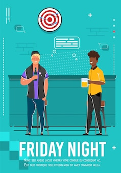 Friday night flyer with relaxing multiracial men