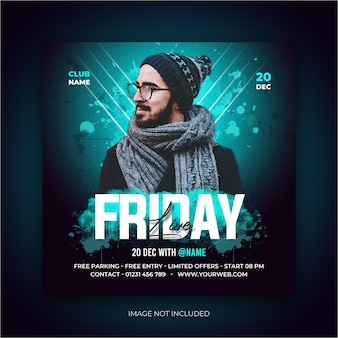Friday night performance social media ad post banner template