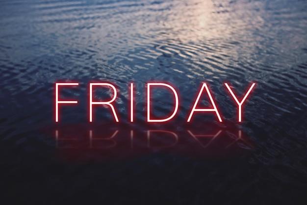 Venerdì rosso al neon parola tipografia vettoriale