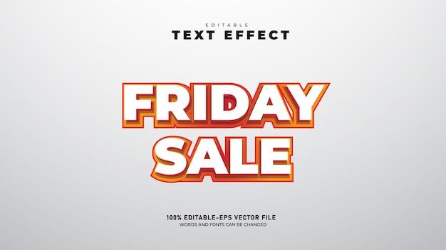 금요일 판매 편집 가능한 3d 텍스트 효과 템플릿 프리미엄 벡터