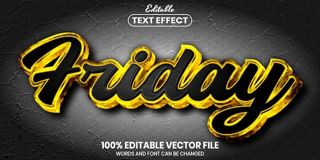 Friday text, font style editable text effect