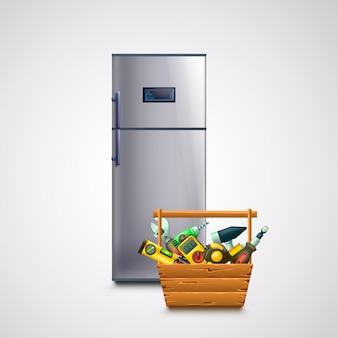 Холодильник и ящик для инструментов