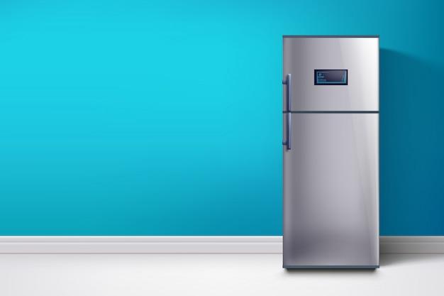 青い壁の冷蔵庫