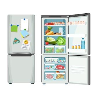 Холодильник закрыт и полон продуктов