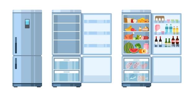 냉장고. 제품, 건강 식품, 물, 우유, 과일 및 야채, 알코올 및 고기, 평평한 만화 벡터 주방 개념이 있는 폐쇄 및 개방, 비어 있고 냉장고