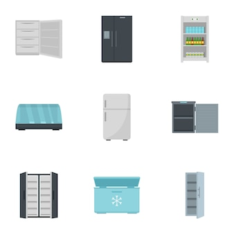 Fridge icon set. flat set of 9 fridge vector icons