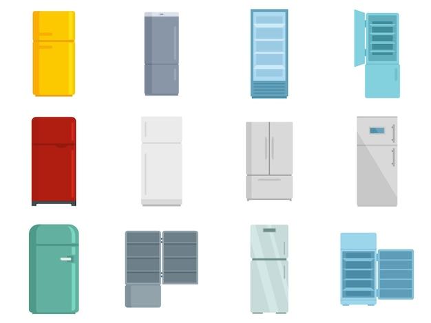 냉장고 아이콘을 설정합니다. 흰색 배경에 고립 된 냉장고 벡터 아이콘의 평면 세트