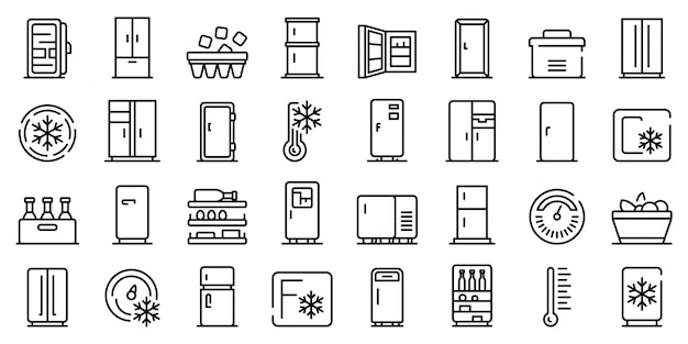 Fridge icons set, outline style