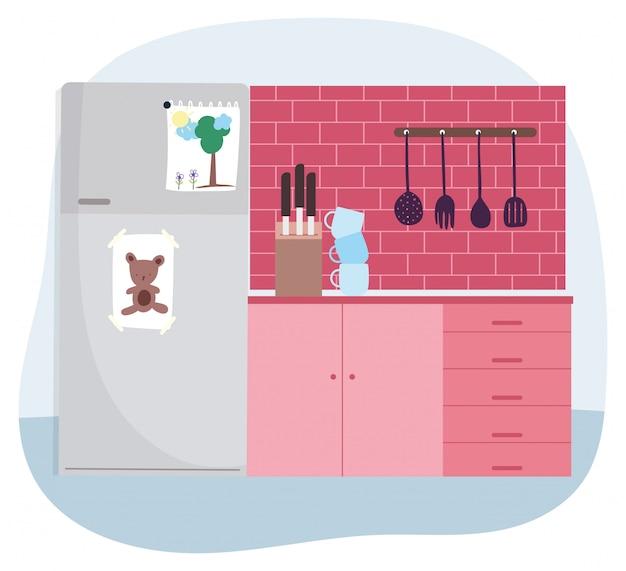カップナイフとカトラリー調理の冷蔵庫スタック