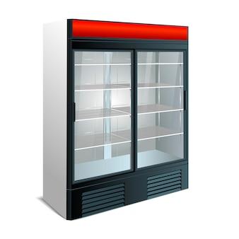 分離された透明なガラスの冷蔵庫。白い背景の上の冷蔵庫のショーケース。ベクター
