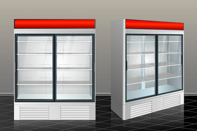 分離された透明なガラスの冷蔵庫。ベクトルイラスト