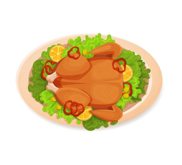 Жареный, запеченный цыпленок на белой тарелке с листьями салата. вектор, иллюстрация, вид сверху, мультфильм, изолированная квартира на белом фоне
