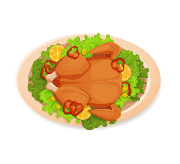 Fried, baked chicken on a white plate with lettuce leaves.vector ,illustration, top view, cartoon, isolated flat on a white background