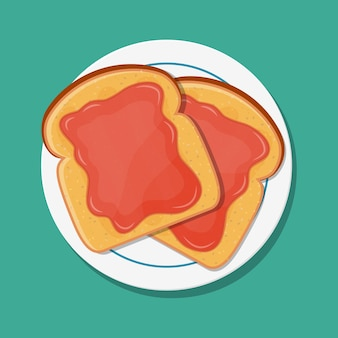 Fried bread, toast with strawberry jam for breakfast