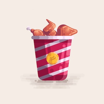 Fried chicken in bucket fast food vector illustration