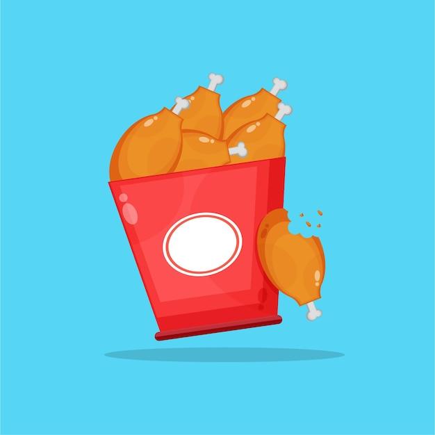 Fried chicken bucket icon design