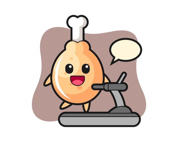 디딜 방 아에 걷는 프라이드 치킨 만화 캐릭터