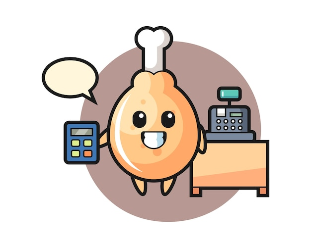 Fried chicken character as a cashier