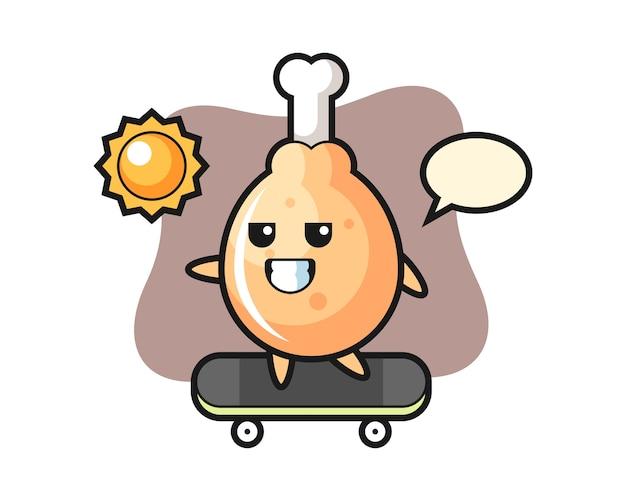 フライドチキンキャラクターがスケートボードに乗る