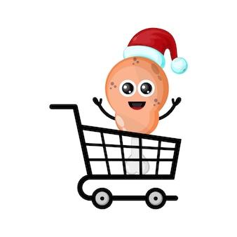 프라이드 치킨 크리스마스 쇼핑 귀여운 캐릭터 로고