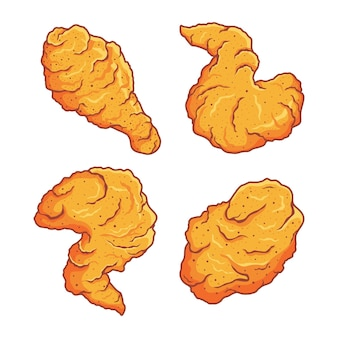 Fried chicken clip art set