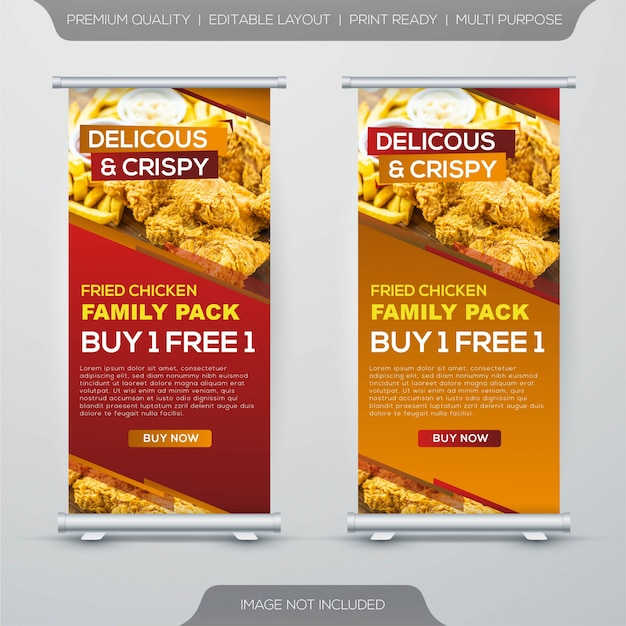 Fried chicken food court stand banner design template