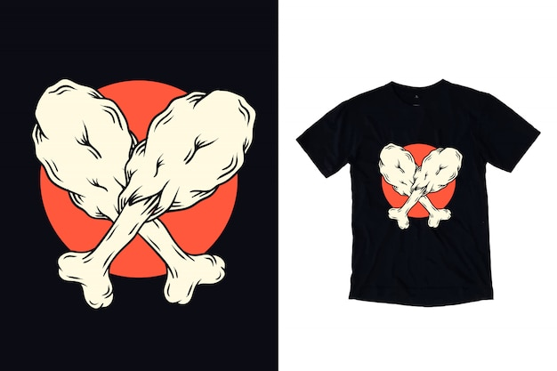 Иллюстрация жареной курицы для футболки