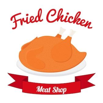 Fried chicken label, tasty fast food