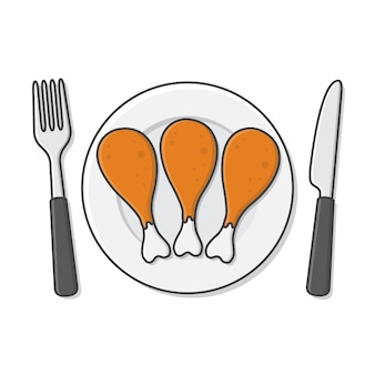 Fried chicken legs on plate with fork and knife icon illustration