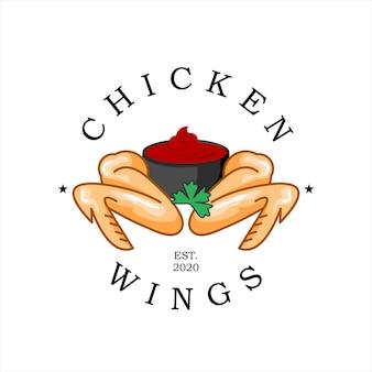 Жареный цыпленок логотип куриные крылышки вектор