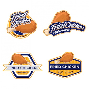 Fried chicken logo stock vector set