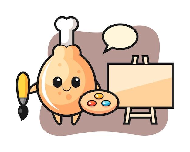Fried chicken mascot as a painter