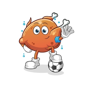 The fried chicken playing soccer illustration. cartoon mascot mascot