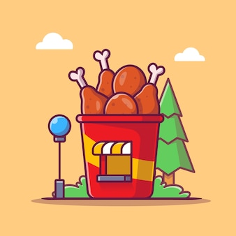 Fried chicken shop cartoon   icon illustration. food shop building icon concept isolated  . flat cartoon style