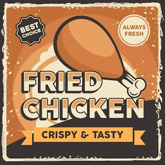 Fried chicken signage retro rustic classic