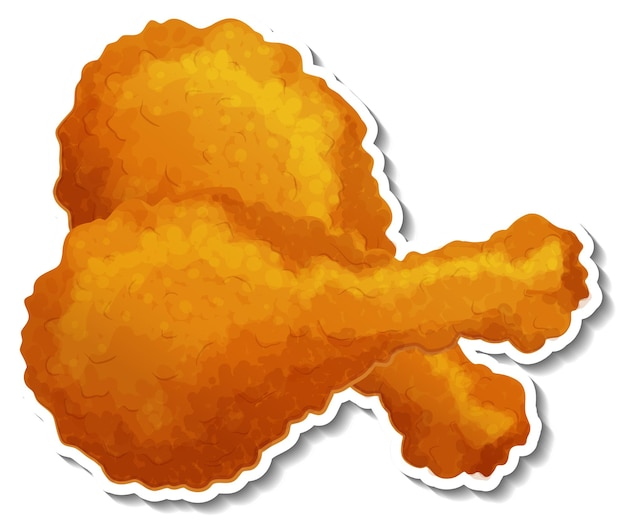 Adesivo di pollo fritto su sfondo bianco