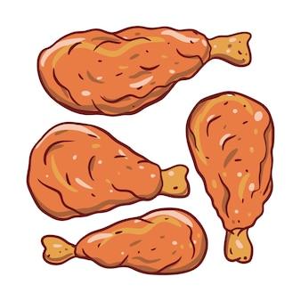 튀긴 닭 날개. 손으로 쓴 그림 세트. 흰색 배경에 고립. 메뉴, 카페, 레스토랑 및 농부 시장을위한 디자인.