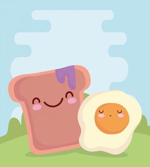Жареное яйцо и хлеб с вареньем меню персонажа мультфильм еда мило