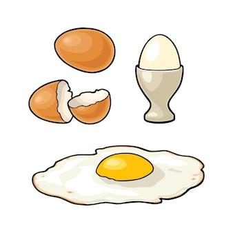 Жареные яйца и сломанная скорлупа. винтажные цветные векторные иллюстрации гравировки для плакатов и этикеток. изолированные на белом фоне.